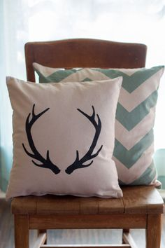 Deer Antler Pillow Case Rustic Pillow Farmhouse by YellowRoseSigns
