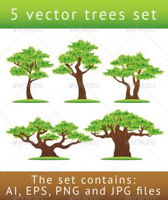 Green oak trees vector illustrations set #GraphicRiver This is a set of 5 green oak trees illustration objects. You can use them in: Landscape illustrations Ecology and environment-related designs Outdoor party flyers and more! The coloring of the trees was made using 5 global colors, so you can easily change their color scheme. The set contains: 5 Adobe Illustrator CS files 5 Illustrator 8 EPS files 5 Transparent PNG files 5 JPG files Created: 8April11 GraphicsFilesIncluded: TransparentPNG…