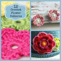 12 Crochet Flower Patterns...great for beginners too! (These are fun for gift ideas on bookmarks, head bands, flip flops, bags, jackets, wrapping a package instead of a bow, etc.)