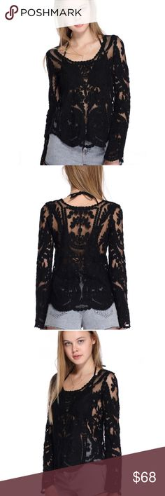 """JUST IN! Black long sleeve crochet sheer blouse Sexy, soft and sheer in all the right places, this pullover top looks GORGEOUS over a black bra or camisole! Runs small but has a bit of stretch: One Size = 15"""" shoulders, 39.5"""" bust, 27"""" length. Tops Blouses"""