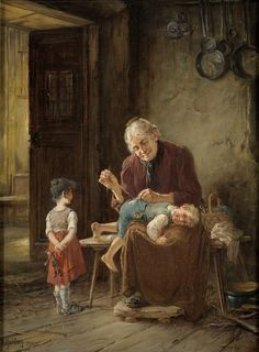 """Grandmother sews pants"" by Adolf Humborg (1847 – 1921), Austrian painter"