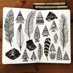 Feather & tree doodles