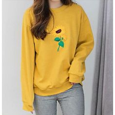 Yellow Sunflower Jumper ($40) ❤ liked on Polyvore featuring tops, sweaters, yellow long sleeve shirt, extra-long-sleeve shirts, yellow shirt, long sleeve jumper and yellow top