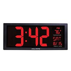 AcuRite 75127 Oversized LED Clock with Indoor Temperature Date and Fold-Out Stand 14.5""