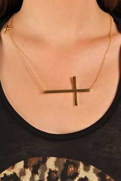 Side Cross Necklace - Gold I saw this at charming Charles at the battlefield mall in Springfield mo.
