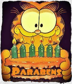 Garfield Bolo Parabéns - ツ Imagens, Animações e Mensagens de Feliz Aniversário ツ