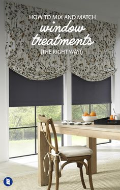 Want help matching curtains and blinds to get the layered look just right? We'll share all our advice for mixing and matching window treatments to help you get a designer-quality look for less.  #kitchen #romanshades #windowshades #rollershades #shades #blackoutblinds #blackoutshades #blackoutcurtains #diningroom