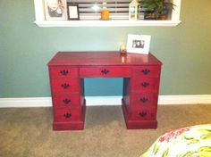 Refinished desk. LOVE how it turned out. Did chalk paint and black tinted furniture wax with a stiff brush.