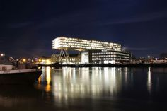 Unilever Rotterdam at night