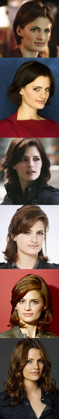 Stana Katic (Kate Becket) Short hair from the beginning of the tv series Castle, to the long hair she wears on this years Castle.