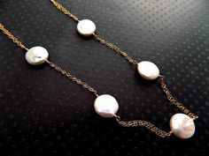 Coin Pearl Necklace 14K Gold Fill Tin Cup Pearl Necklace In Gold Wedding Jewelry Bridesmaids Necklace Everyday Pearl Necklace Bridal Shower