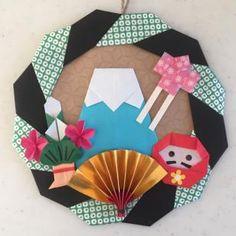 正月飾り 折り紙 ハンドメイド リース 緑