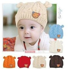 Baby Hat Twist Button Bear Baby Winter Hat  Baby Photography Props Knitted Ear Cap Baby