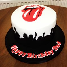 """A single tier Rolling Stones Cake, complete with crowd silhouette, Rolling Stones logo and """"Rolling Stone Magazine"""" font writing. Love Charlene from the Red Butterfly Bakery xx https://www.facebook.com/Redbutterflybakery"""