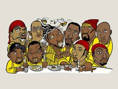 Jesus represented by gangsters at the last supper