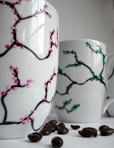 Four Seasons Coffee Mugs- Omg i want to do this :-)