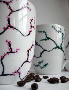 Four Seasons Coffee Mugs- Omg i want to do this :-)