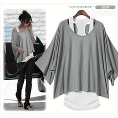 2 in 1 Damen Batwing Longshirt + Tunika T-Shirt Bluse Shirt Top Tank Casual