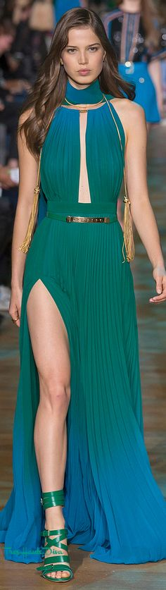 Elie Saab Spring 2018 RTW blue & green ombre #eveninggown