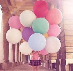 Wedding Decorations – Blue pink yellow purple green colourful Balloons, Round Latex Big Ballon – a unique product by Thanksgiving via en.dawanda.com