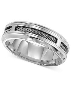 Triton Men's Stainless Steel Ring, Comfort Fit Cable Band - Men's Jewelry & Accessories - Jewelry & Watches - Macy's