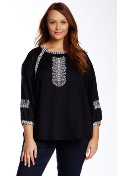Cross Stitched Blouse (Plus Size) by Lucky Brand on @nordstrom_rack