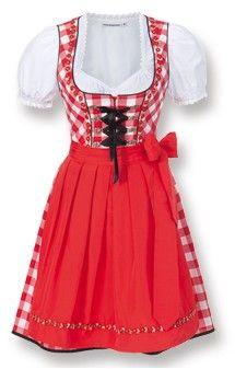German mini dirndl 2pcs. Joy red 50 cm oktoberfest dirndl