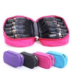 Handige cosmetische reisetui, reistas, draagtas, travel case met rits voor het meenemen van 10 parfum flesjes / essentiële olie flesjes 5ml. 10ml, of 15ml.