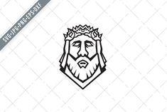 Head of Jesus Christ Redeemer SVG by patrimonio Christ The Redeemer, Jesus Christ, Stencil Wall Art, Crown Of Thorns, Birthday Design, Vector File, Design Bundles, At Least, Silhouette Studio