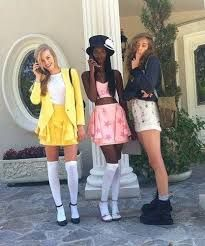 130 Winning Group Halloween Costume Ideas via Brit + Co Trio Halloween Costumes, Clueless Halloween Costume, 90s Costume, Halloween Inspo, Cute Costumes, Group Costumes, Halloween Cosplay, Halloween Outfits, Costume Ideas