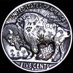 Jay DeBoer Hobo Nickel - Andy Commission - Reverse of 2 Sided Carving ( Hobo Nickel, Paper Cutting, Skulls, Buffalo, Jay, Coins, Carving, Rooms, Wood Carvings