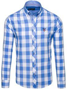Błękitna koszula męska w kratę z długim rękawem Bolf 6888
