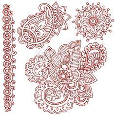 Henna Mehndi Doodle Paisley Design Elements Royalty Free Stock Vector Art Illustration