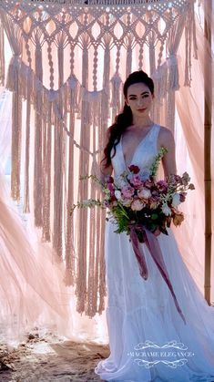 Dreamy Beach Wedding with Macrame Backdrop from Macrame Elegance. Now you can rent your macrame wedding decor here. Chic Wedding, Wedding Trends, Perfect Wedding, Wedding Ceremony, Wedding Ideas, Bohemian Bride, Bohemian Weddings, Rustic Weddings, Beach Weddings