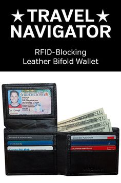 The Roma wallet by Travel Navigator Accessories is a high-quality RFID-blocking leather bifold wallet for men.