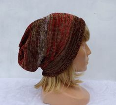 Knit hat, knitted cotton hat, knitting colorful summer beanie, adult cap, women men slouche,yellow red brown hat, head gear, handmade by peonijahandmadeshop on Etsy