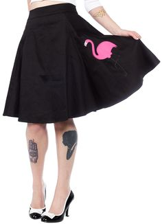 COLLECTIF TAMMY FLAMINGO SKIRT BLK - Sourpuss Clothing