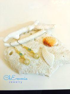 Pearl dangling earrings #sea, shell, coral, ocean, blue