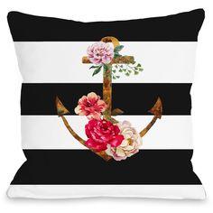 "Anchors Away"" Outdoor Throw Pillow by OneBellaCasa, 16""x16"