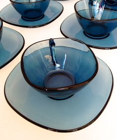 Vintage Blue Vereco Coffee Set of 6 Cups and saucers by Cyclopaedia, £40.00