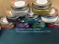 Just in time for holiday crafts, German Glass Glitter in cute 8 oz Mason Jars!  9 colors, very sparkly!  The Couture Collection!(TM)