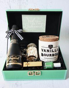 """Will you be my Bridesmaid?"" Freixenet sparkling wine gift box DIY tutorial #alllovesparkles #freixenetusa"
