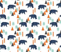 Camping Forest Bear (larger scale) -  Navy, Mint, by Andrea Lauren  fabric by andrea_lauren on Spoonflower - custom fabric