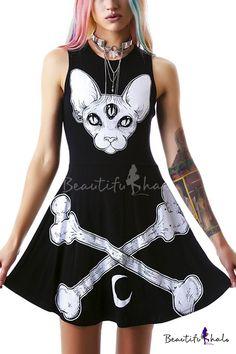 Animal & Bones Print Sleeveless Skater Mini Dress