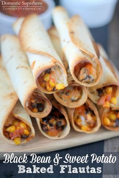 Black Bean and Sweet Potato Baked Flautas. Added more sauce (the whole can) and fried them (not baked). Everyone loved them!