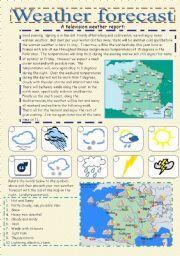 English worksheet: weather forecast