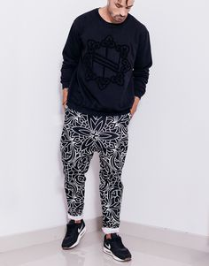 Nemis Abstraction Drop Crotch Pants Black Urban Fashion, Mens Fashion, Drop Crotch Pants, Fashion Labels, Slim Legs, Black Pants, Street Wear, Sweatpants, Tees
