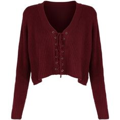 Burgundy V-neck Lace Up Front Crop Knitted Sweater (94 ILS) ❤ liked on Polyvore featuring tops, sweaters, shirts, cardigans, burgundy shirt, v neck crop top, red shirt, burgundy crop top and v-neck shirt