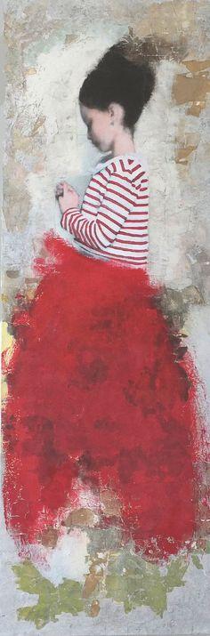 Veronique Paquerau, Un matin poudre, Mixed Media on canvas, 120x40 cm, €.800,-