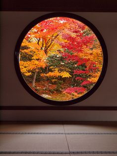 low circular window requiring viewer to kneel to fully appreciate and respect nature, Japan